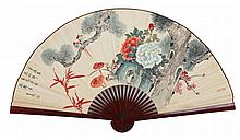 LARGE JAPANESE HAND PAINTED LACQUERED WALL FAN