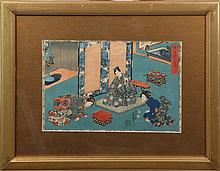 JAPANESE UKIYO-E WOODBOCK PRINT TEA CEREMONY