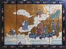 CHINESE BLACK LAQUER WALL PANELS EIGHT IMMORTAL
