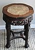 CARVED WOOD & MARBLE SIDE TABLE