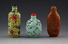 (3) CERAMIC SNUFF BOTTLES