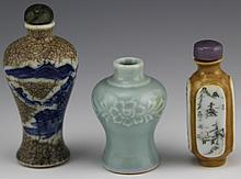 (3) ANTIQUE ASIAN PORCELAIN SNUFF BOTTLES
