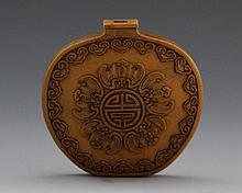 CHINESE BAMBOO VENEER SNUFF BOTTLE