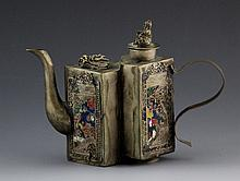JAPANESE NICKEL SILVER TEAPOT