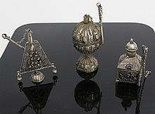 (3) ANTIQUE BEDOUIN SILVER HIRZ BOXES