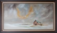 WUSKELL NEW ENGLAND SNOWSTORM OIL ON CANVAS