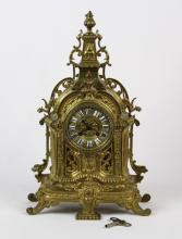 ORNATE BRASS FRENCH STYLE MANTLE CLOCK