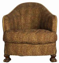 EDELMAN HIDE UPHOLSTERED VICTORIAN PARLOR CHAIR