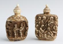 (2) CHINESE COMPOSITE IVORY SNUFF BOTTLES