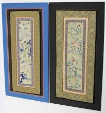 (2) SCROLL SHAPED EMBROIDERED PIECES