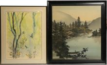 PAINTING TO SILK AND C.F. CHIANG WATERCOLOR