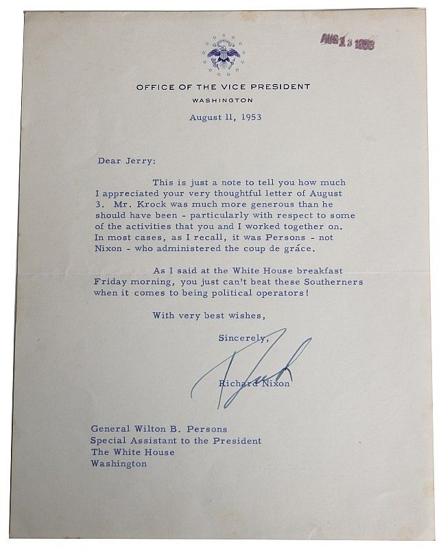 RICHARD NIXON SIGNED PRESIDENTIAL LETTER