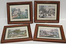 AFTER CURRIER & IVES FRAMED PRINTS FOUR SEASONS