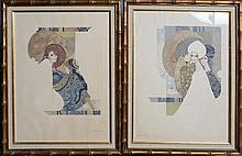 EVE PAIR OF FRAMED PRINTS ON EMBOSSED PAPER