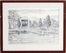 JOHN MOLL PENCIL DRAWING OF A BRIDGE