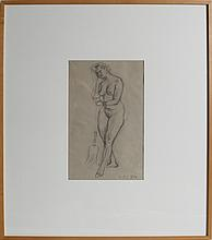 LEONARD BASKIN NUDE WITH BROOM PENCIL DRAWING