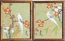 (2) CHINESE CORK PAINTINGS BIRDS & FLOWERS SIGNED