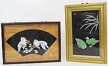 FRAMED SHADOWBOX JAPANESE SOFT STONE CARVINGS