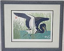 PRINT OF A GREAT BLUE HERON IN REEDS