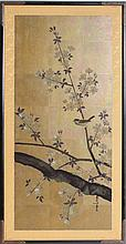 JAPANESE OIL FLOWERS AND BIRDS SIGNED