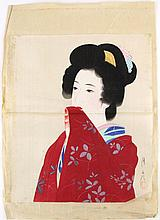 LOOSE JAPANESE GEISHA WATERCOLOR ON SILK