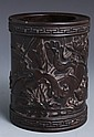 CHINESE CARVED ZITAN WOOD BRUSH POT