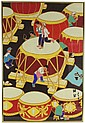 SIGNED CHINESE PAINTING OF DRUMS