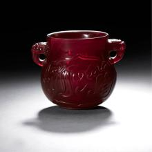 A CHINESE CARVEDRUBY-RED GLASS TWO-HANDLED CENSER