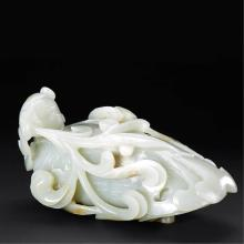 A CHINESE WHITE JADE PHOENIX CARVING