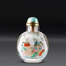 A INSIDE-PAINTED CRYSTAL SNUFF BOTTLE