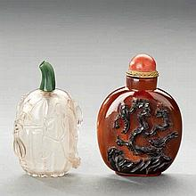 A FINELY CARVED AGATE SNUFF BOTTLE AND A ROCK CRYSTAL CARVED MELON-FORM SNUFF BOTTLE
