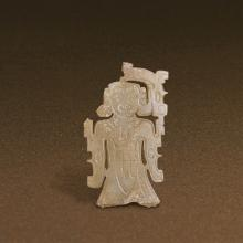 A CHINESE UNEARTHED WHITE JADE DRAGON HUMAN-SHAPED PENDANT