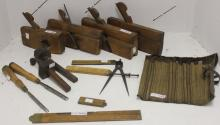 14 19TH C TOOLS INCLUDING 3 MOLDING PLANES, 1