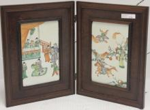 EARLY 20TH C 2 PANEL FOLDING TABLE SCREEN WITH