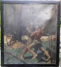 OIL PAINTING ON CANVAS DEPICTING A FRONTIERSMAN