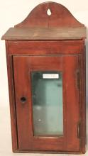 19TH C SMALL HANGING CUPBOARD WITH GLASS DOOR,