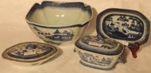 LOT OF 4 PIECES OF 19TH C CANTON, BLUE AND WHITE
