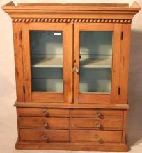 MINIATURE 19TH C HANGING CUPBOARD WITH 2 GLAZED