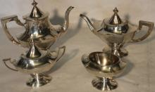 4 PC STERLING SILVER TEA SET TO INCLUDE COFFEE