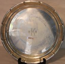 LARGE STERLING SILVER ROUND TRAY, REED & BARTON,