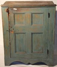 19TH C PAINTED BLUE 1 DOOR CUPBOARD WITH 4 FLAT