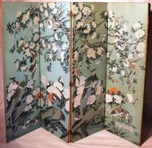EARLY 20TH C 4 FOLD CHINESE DRESSING SCREEN,