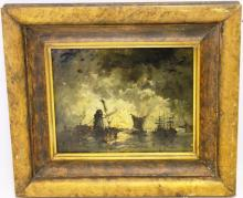 FRAMED DUTCH LANDSCAPE PAINTING ON PANEL WITH