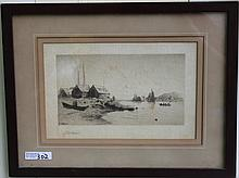 FRAMED ETCHING BY LEMUEL D. ELDRED (FAIRHAVEN