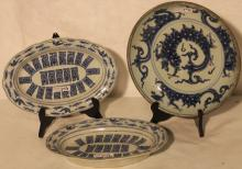 LOT OF 3 BLUE AND WHITE CHINESE EXPORT PORCELAIN