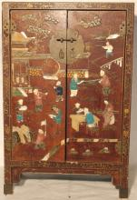 LATE 19TH C LACQUERED 2 DOOR MINIATURE CHINESE