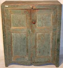 19TH C 2 DOOR PINE CUPBOARD WITH CUT OUT BASE,