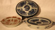 2 CHINESE EXPORT WARMING DISHES.  ONE IS 19TH C