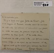 SIGNED, HAND WRITTEN LETTER, GEORGES GOYAU,