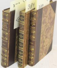 THREE BROWN LEATHER BOUND BOOKS WITH GILT